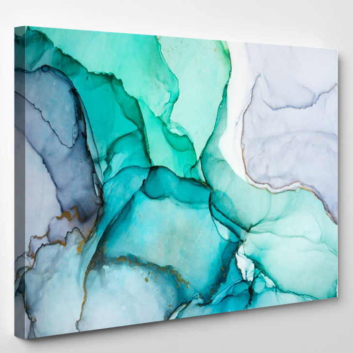 Green Blue Purple Modern Abstract - Abstract Canvas Wall Decor
