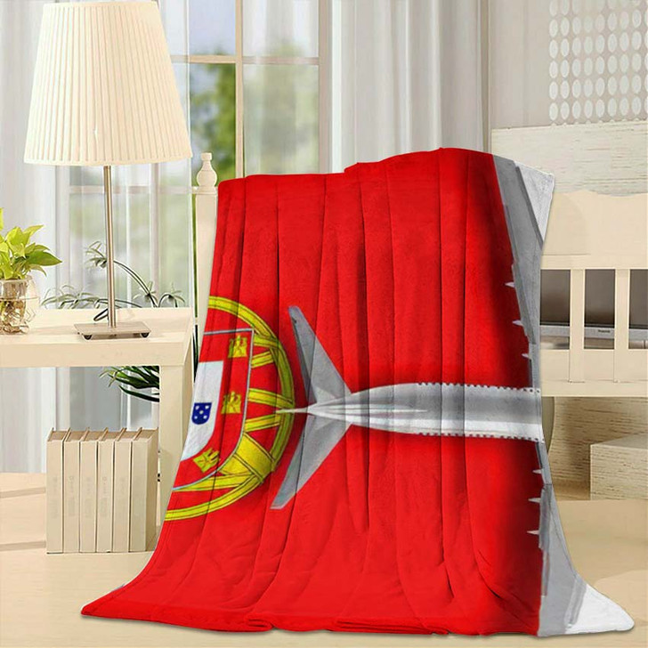 3D Flag Portugal Airplane Flying Over - Airplane Airport Fleece Throw Blanket
