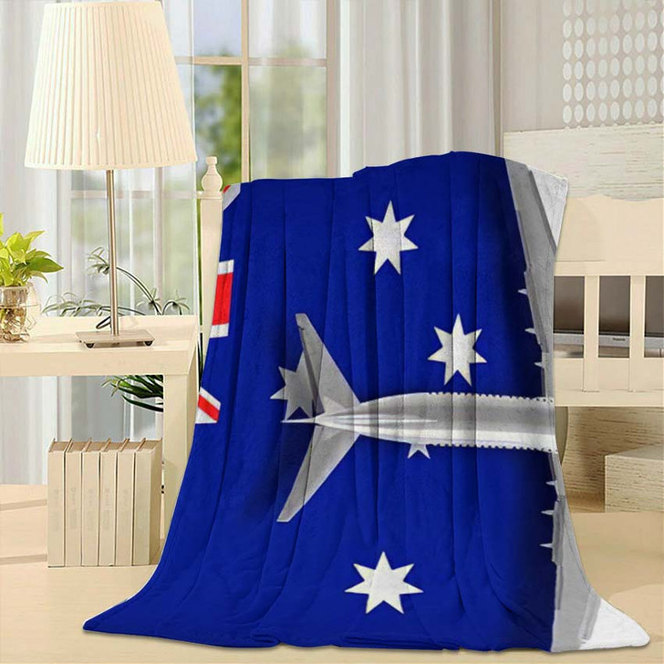3D Illustration Flag Australia Airplane Flying - Airplane Airport Fleece Throw Blanket