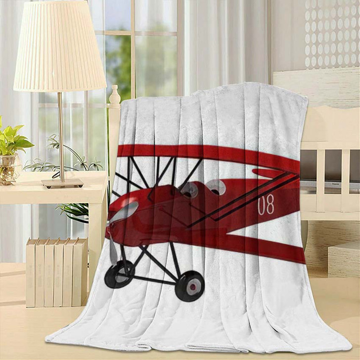 3D Render Model Ancient Plane On - Airplane Airport Fleece Throw Blanket