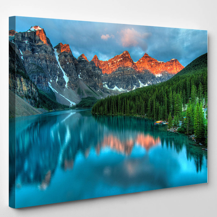 Moraine Lake In Banff National Park - Nature Canvas Wall Decor