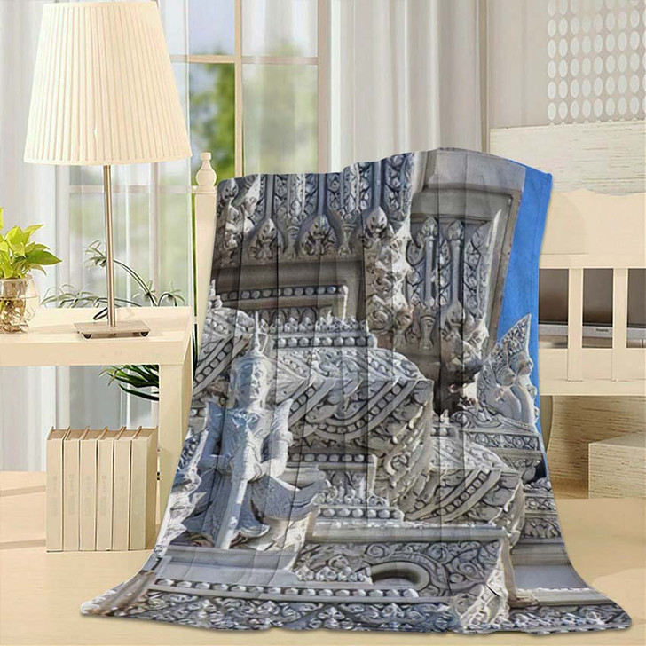 3 Royal Tombs Udong Stupa Preserves - Buddha Religion Fleece Throw Blanket