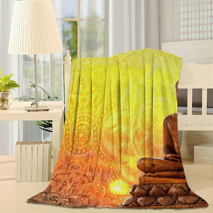 3D Buddha Wallpaper Walls New - Buddha Religion Fleece Throw Blanket