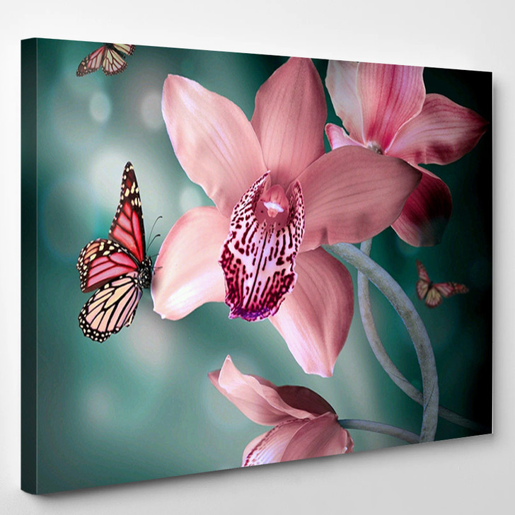 Orchids With A Butterfly - Nature Canvas Wall Decor