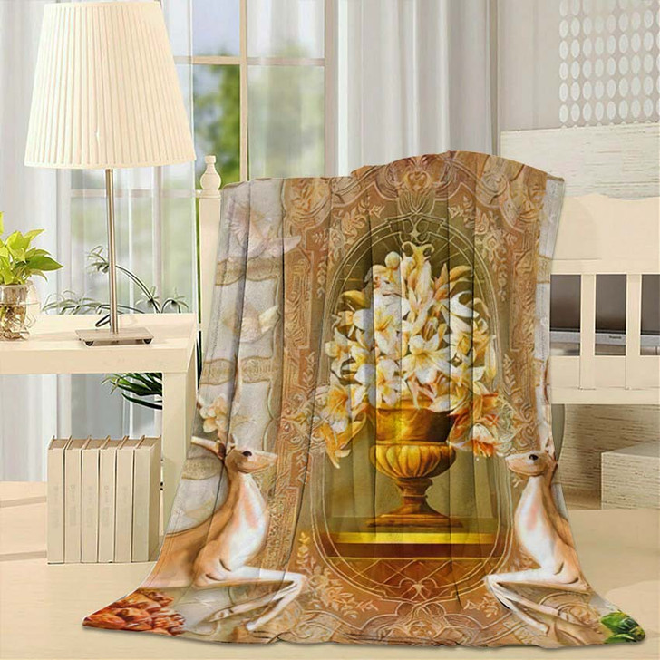 3D Illustration Beige Background Green Golden - Christian Fleece Throw Blanket