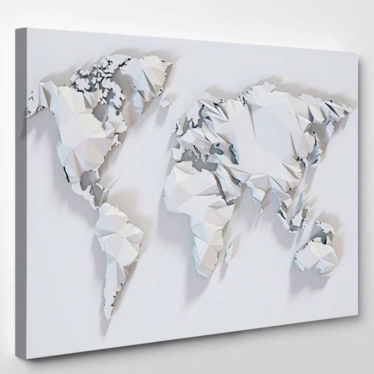 Poly Paper World Map Background 3D Rendering - World Map Canvas Wall Decor