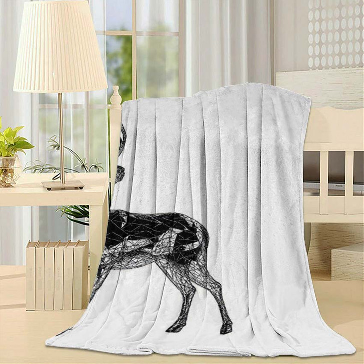 3D Render Unusual Deer Illustration Lines - Deer Animals Fleece Throw Blanket