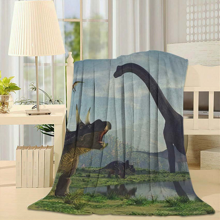 3D Render Dinosaur This - Dinosaur Animals Fleece Throw Blanket