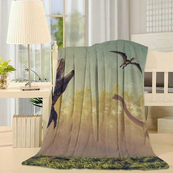 3D Render Dinosaur This Illustration - Dinosaur Animals Fleece Throw Blanket