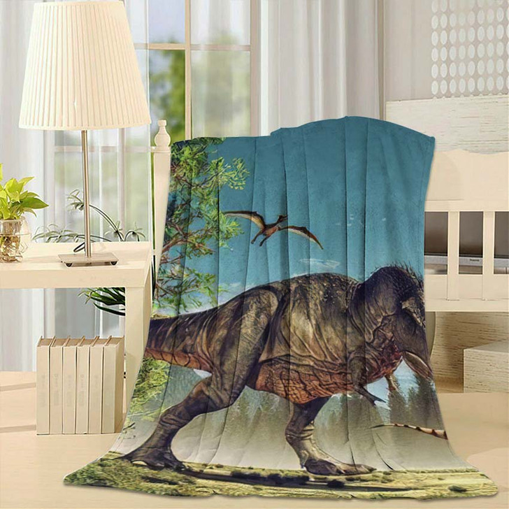 3D Render Dinosaur This Illustration 1 - Dinosaur Animals Fleece Throw Blanket
