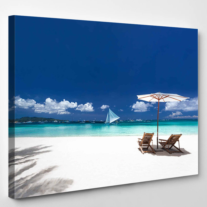 Sun Umbrellas And Wooden Beds On Tropical Beach Caribbean Vacation - Nature Canvas Wall Decor