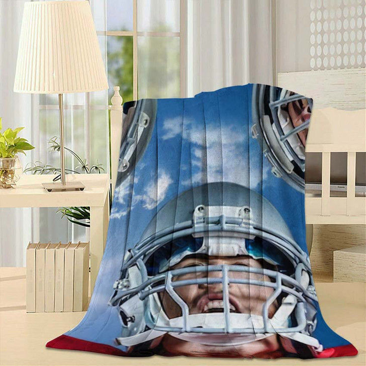 3D American Football Huddle Against Bright - Football Fleece Throw Blanket