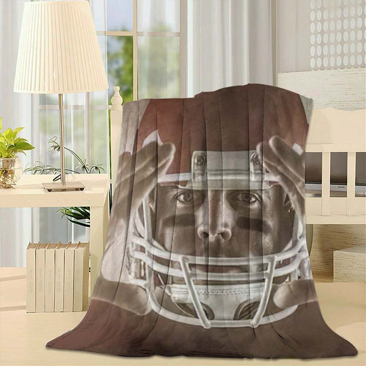 3D American Football Player Making Hand - Football Fleece Throw Blanket