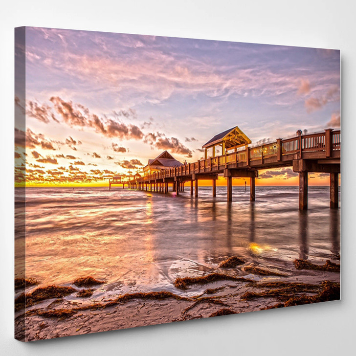 Sunset At Clearwater Beach Florida - Landscape Canvas Wall Decor