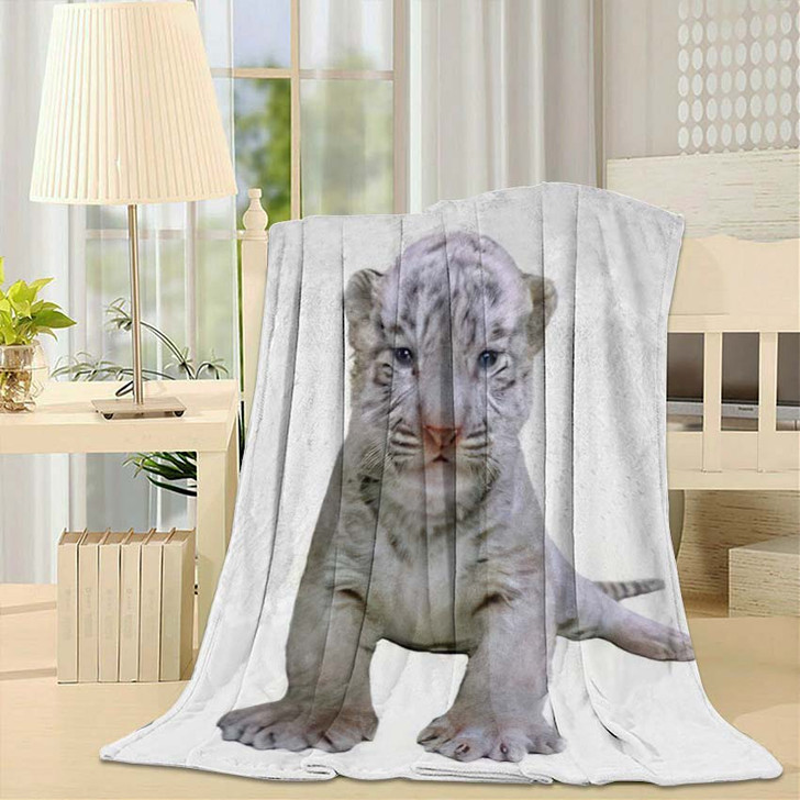 2 Week White Tiger - White Tiger Animals Fleece Throw Blanket