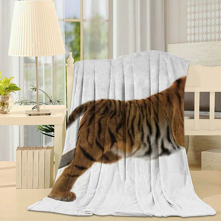 3D Digital Render Hunting Big Cat - White Tiger Animals Fleece Throw Blanket