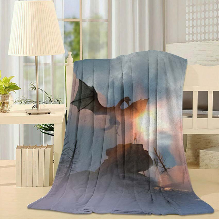 3D Illustration Knight Fighting Dragon Versus - Dragon Animals Fleece Throw Blanket