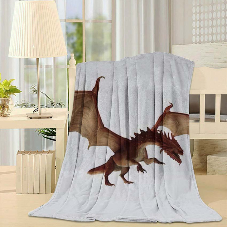 3D Illustration Red Dragon Rendering Fairy - Dragon Animals Fleece Throw Blanket
