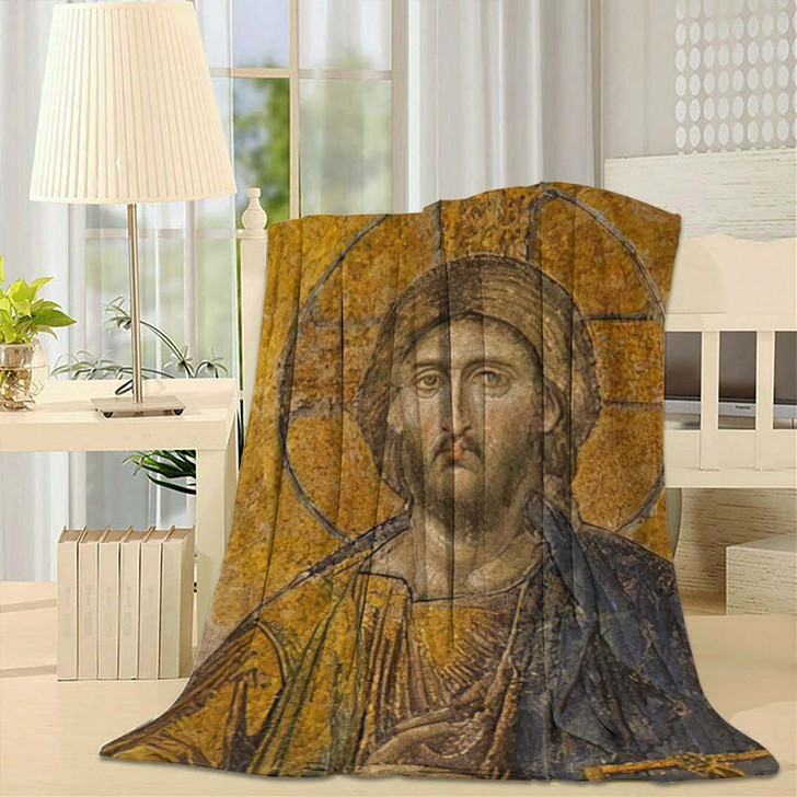 13Th Century Mosaic Jesus Christ Hagia - Jesus Christian Fleece Throw Blanket