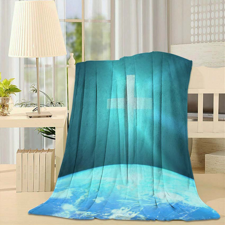 3D Illustration Christian Cross Over Planet - Jesus Christian Fleece Throw Blanket
