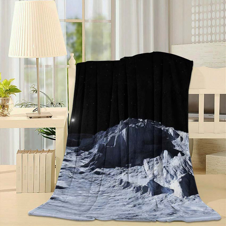 360 Degree View Earths Moon Equirectangular - Sky and Space Fleece Throw Blanket