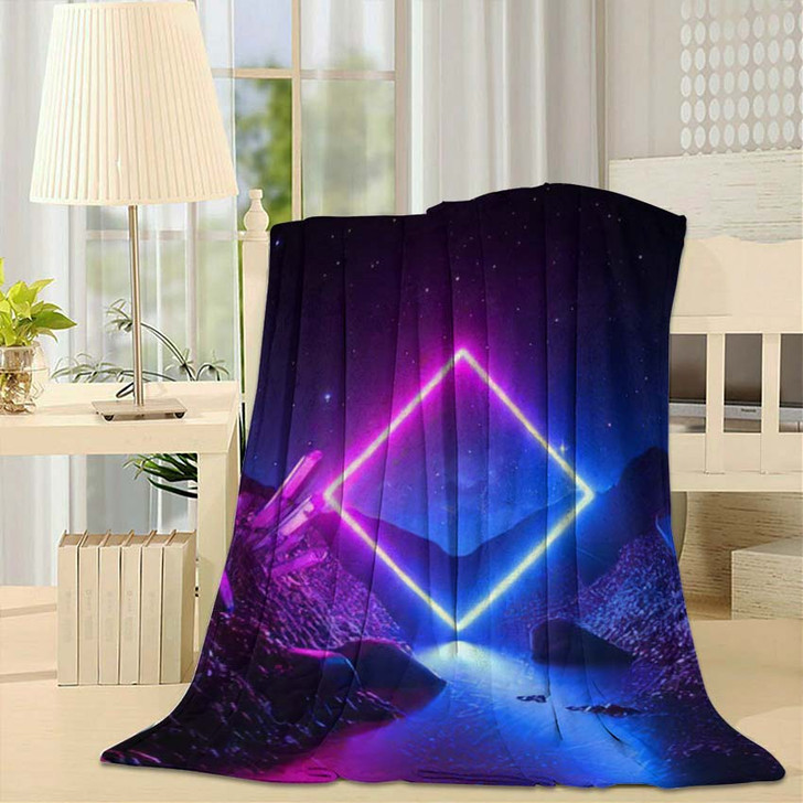 3D Render Abstract Neon Background Mystical - Sky and Space Fleece Throw Blanket