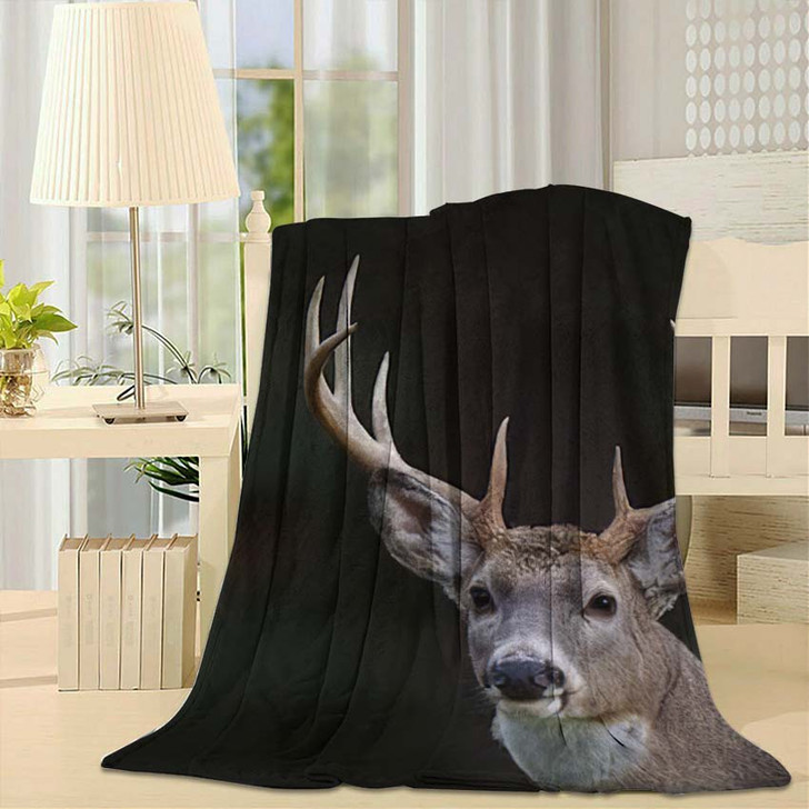 10 Point Buck Whitetail Deer Portrait - Hunting and Fishing Fleece Throw Blanket