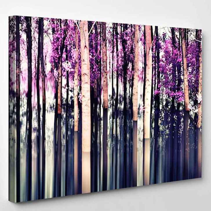 Abstract Forest In Motion Blur Abstract Colorful Background - Nature Canvas Wall Decor