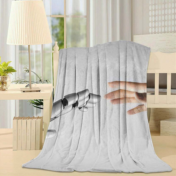 3D Rendering Artificial Intelligence Ai Research 1 - Creation of Adam Fleece Throw Blanket