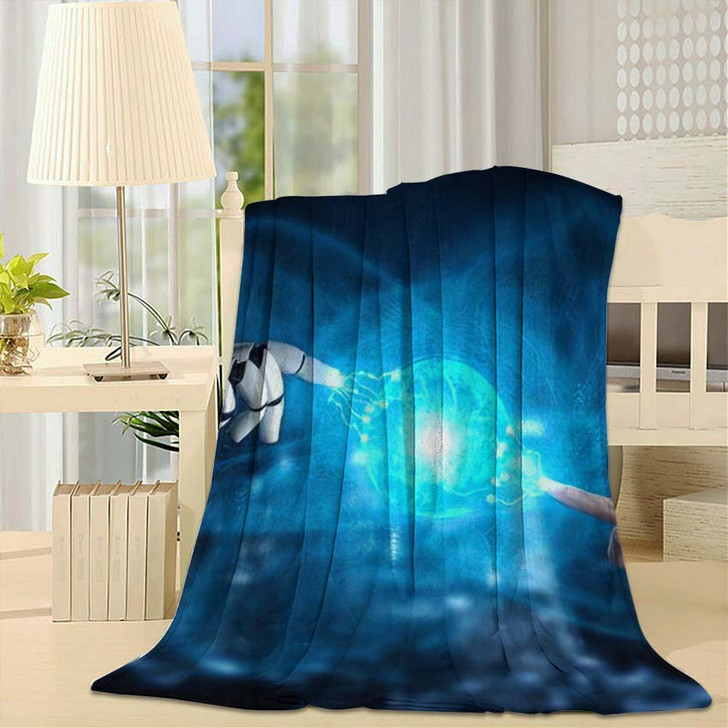 3D Rendering Artificial Intelligence Ai Research 3 - Creation of Adam Fleece Throw Blanket