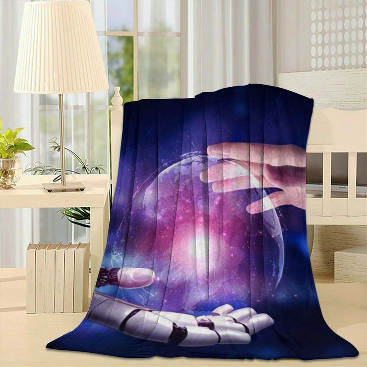 3D Rendering Artificial Intelligence Ai Research 13 - Creation of Adam Fleece Throw Blanket