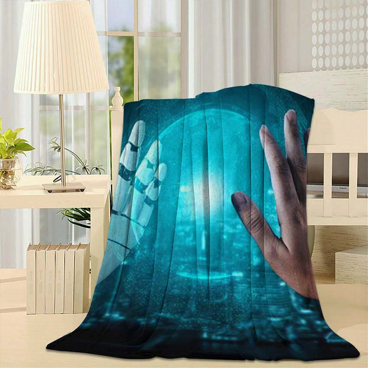 3D Rendering Artificial Intelligence Ai Research 25 - Creation of Adam Fleece Throw Blanket