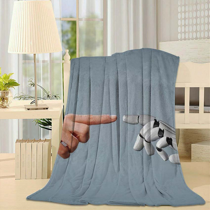 3D Rendering Artificial Intelligence Ai Research 28 - Creation of Adam Fleece Throw Blanket
