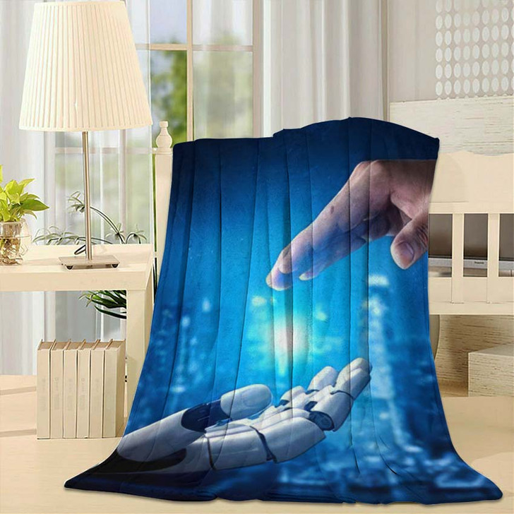 3D Rendering Artificial Intelligence Ai Research 31 - Creation of Adam Fleece Throw Blanket