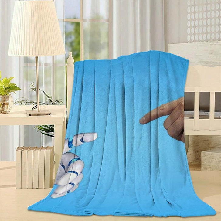 3D Rendering Artificial Intelligence Ai Research 34 - Creation of Adam Fleece Throw Blanket