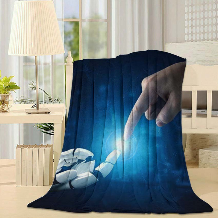3D Rendering Artificial Intelligence Ai Research 37 - Creation of Adam Fleece Throw Blanket