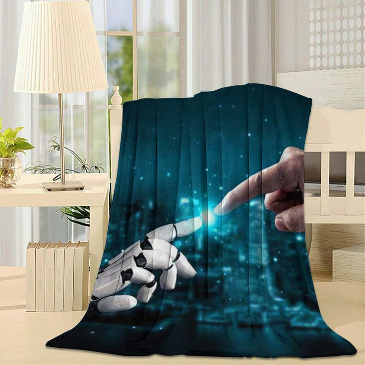3D Rendering Artificial Intelligence Ai Research 42 - Creation of Adam Fleece Throw Blanket