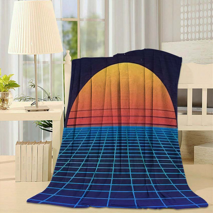 1980S Retro Futuristic Background Sunset Laser - Galaxy Sky and Space Fleece Throw Blanket