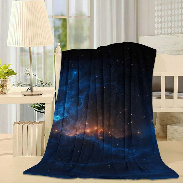 360 Degree Stellar System Nebula Panorama - Galaxy Sky and Space Fleece Throw Blanket