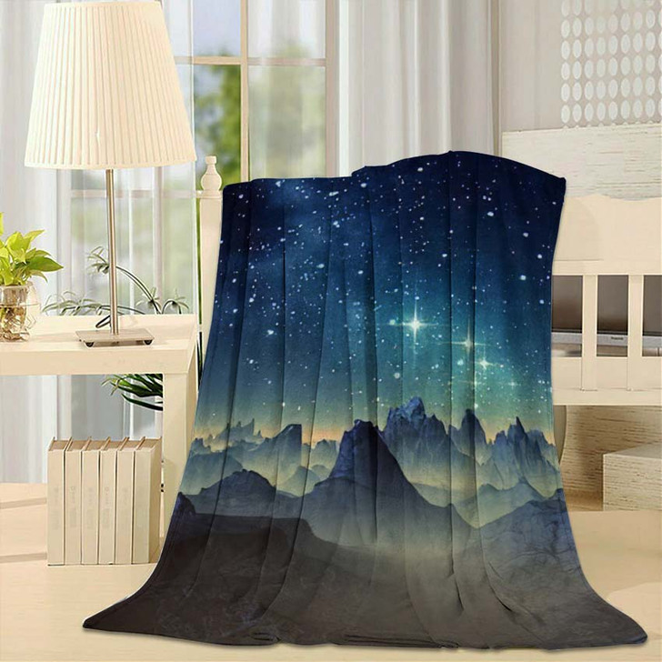3D Created Rendered Fantasy Alien Planet 1  1 - Galaxy Sky and Space Fleece Throw Blanket