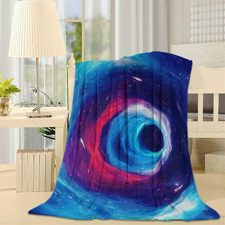 3D Illustration Tunnel Wormhole That Can - Galaxy Sky and Space Fleece Throw Blanket