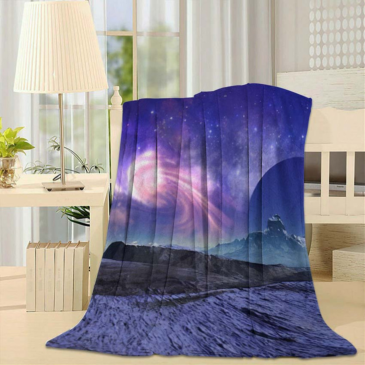 3D Rendered Fantasy Alien Landscape Illustration 1  1 - Galaxy Sky and Space Fleece Throw Blanket