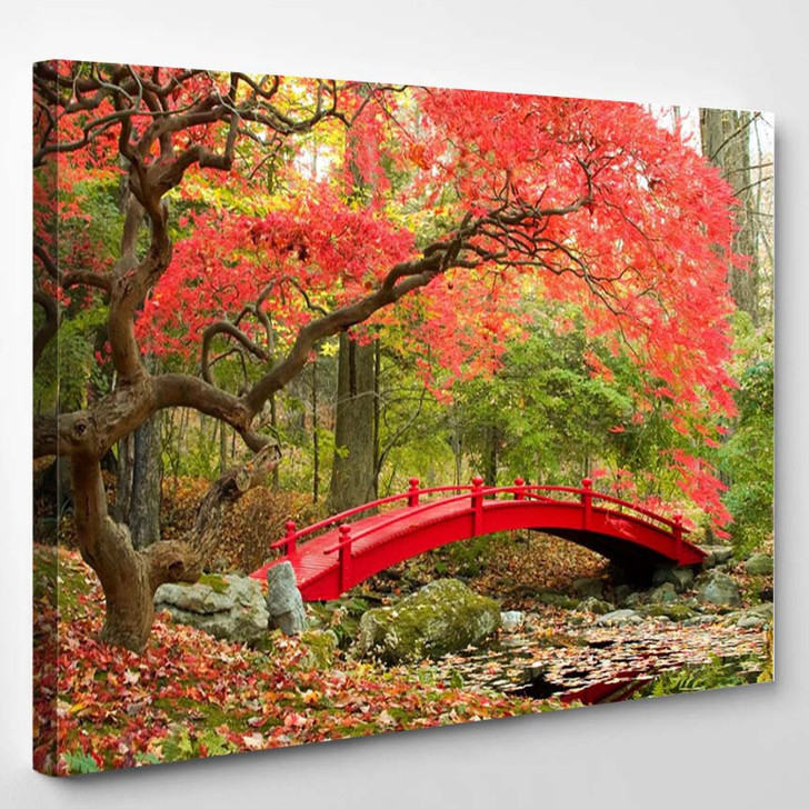 Beautiful Japanese Garden And Red Bridge 2 - Nature Canvas Wall Decor