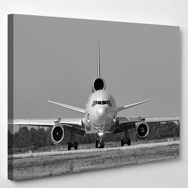 Black And White Airplane - Airplane Canvas Wall Decor
