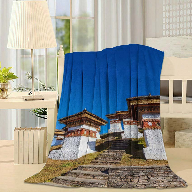 108 Chortens Druk Wangyal On Dochula - Landmarks and Monuments Fleece Throw Blanket