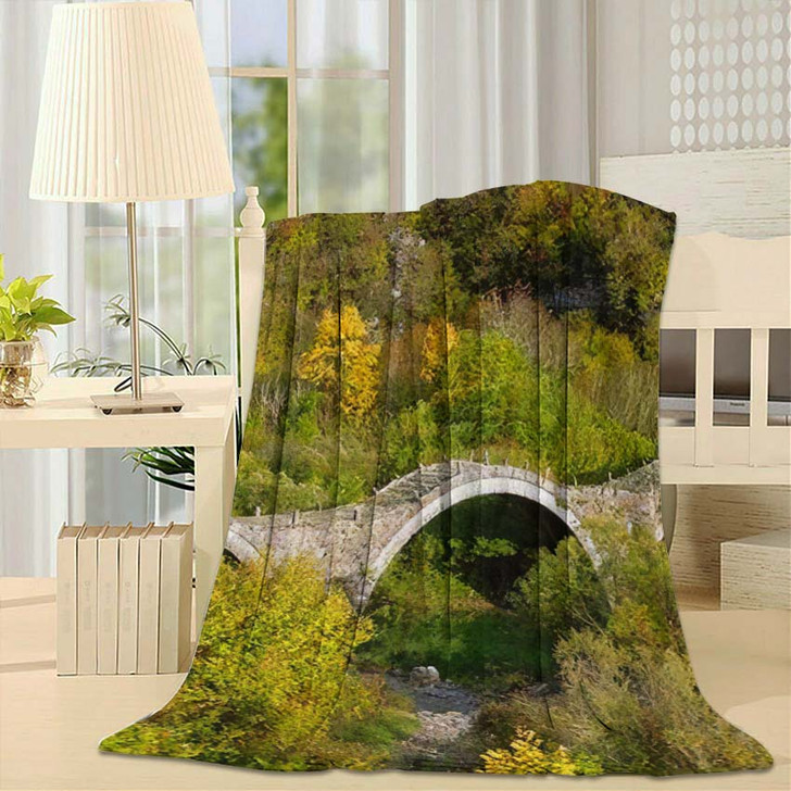 3 Arched Stone Bridge Known Kalogeriko - Landmarks and Monuments Fleece Throw Blanket