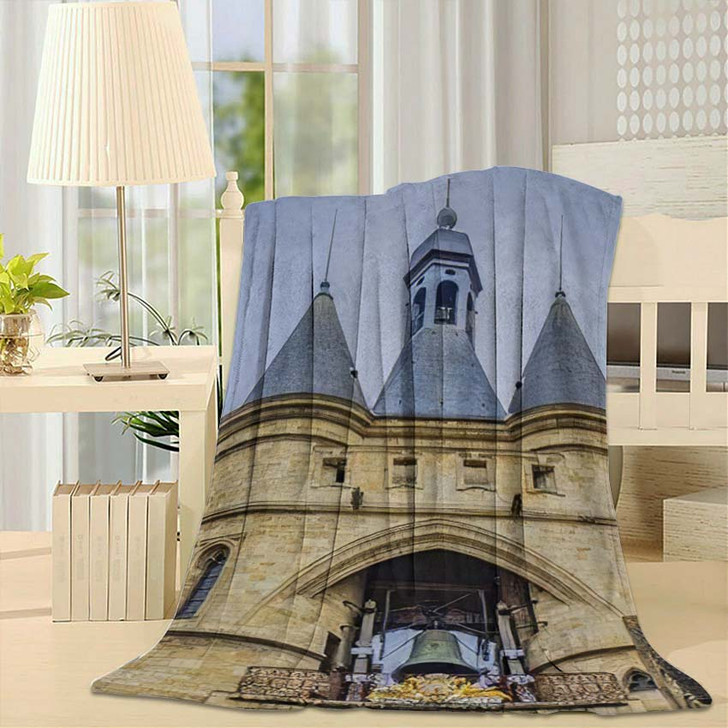 35 Meters Bordeaux Cailhau Gate Porte - Landmarks and Monuments Fleece Throw Blanket