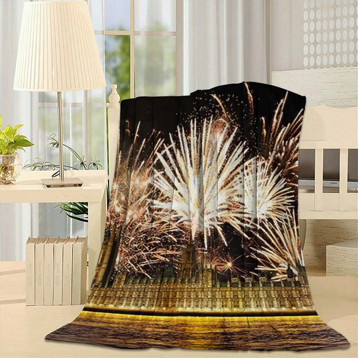 3D Illustration Big Ben Clock Tower - Landmarks and Monuments Fleece Throw Blanket