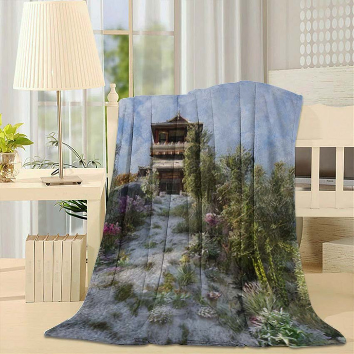 3D Image Chinese Building Pagoda On - Landmarks and Monuments Fleece Throw Blanket
