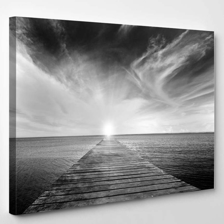 Black And White Picture Of Old Bridge To The Sea - Nature Canvas Wall Decor